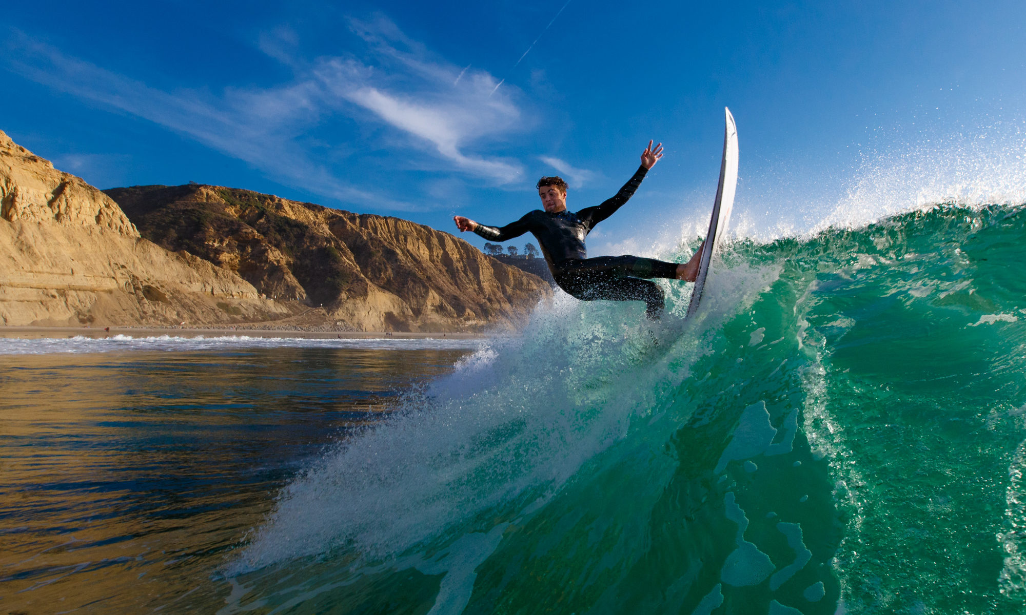 Water photo of surfing at Black's Beach in San Diego, California. Photo by San Diego surf photographer Mark Johnson/Ironstring