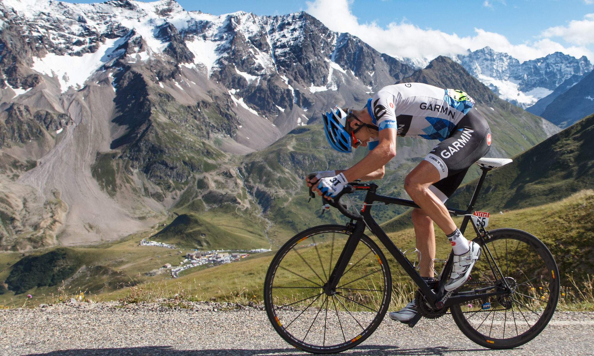 Canadian cyclist Ryder Hesjedal on the Galibier by Mark Johnson/Ironstring